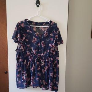 Torrid size 3 sheer floral blouse